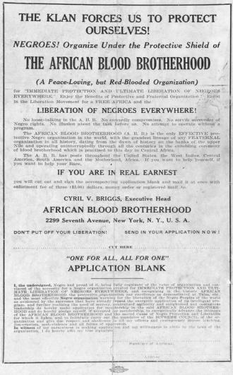 African Blood Brotherhood Poster