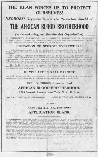 African Blood Brotherhood Poster