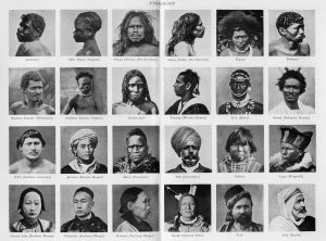 "photos from The New Gresham Encyclopedia, 1922 depicting the varied ""races"" of man"